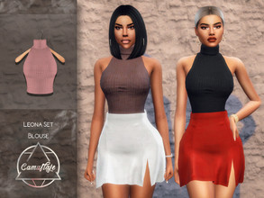 Sims 4 — Camuflaje - Leona Set (Blouse) by Camuflaje — ** Part of the set ** * New mesh * Compatible with the base game *