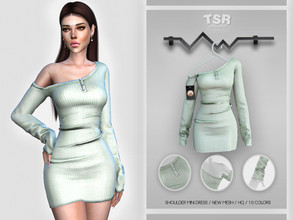 Sims 4 — Shoulder Mini Dress BD410 by busra-tr — 10 colors Adult-Elder-Teen-Young Adult For Female Custom thumbnail