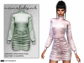 Sims 4 — Turtleneck Ruched Dress MC122 by mermaladesimtr — New Mesh 10 Swatches All Lods All Maps Teen to Elder For
