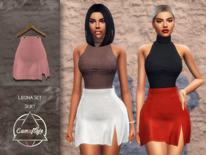Sims 4 — Camuflaje - Leona Set (Skirt) by Camuflaje — ** Part of the set ** * New mesh * Compatible with the base game *
