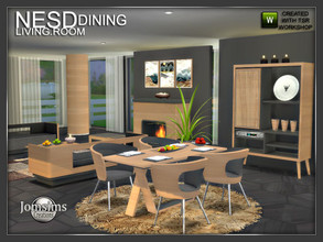 Sims 4 — Nesd dining room  by jomsims — Nesd dining room modern set in 2 part. clean style a Scandinavian touch wood and