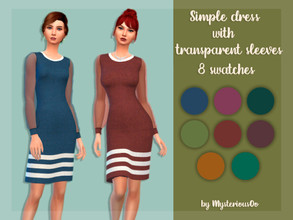 Sims 4 — Simple dress with transparent slevees by MysteriousOo — 8 Swatches; Base Game compatible; HQ compatible; Teen to