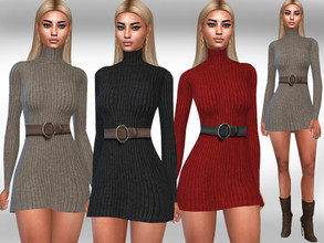 Sims 4 — Long Sleeve Winter Dress with Belt by saliwa — Long Sleeve Winter Dress with Belt 3 colours design by Saliwa