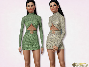 Sims 3 — Snake Print Cut-Out Bodycon Dress by Harmonia — 3 color. recolorable Please do not use my textures. Please do