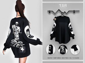 Sims 4 — Graphic T-Shirt Dress BD411 by busra-tr — 10 colors Adult-Elder-Teen-Young Adult For Female Custom thumbnail