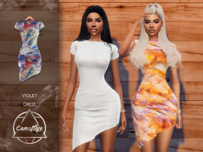 Sims 4 — Camuflaje - Violet (Dress) by Camuflaje — * New mesh * Compatible with the base game * HQ * All LODs (I