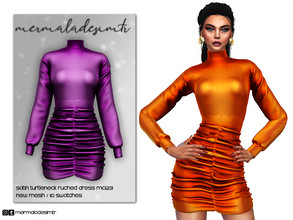 Sims 4 — Satin Turtleneck Ruched Dress MC123 by mermaladesimtr — New Mesh 10 Swatches All Lods All Maps Teen to Elder For