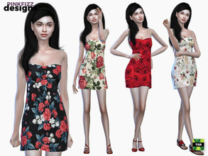 Sims 4 — Red Rose Dress by Pinkfizzzzz — Cute dress for your cute sims!!!