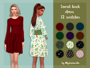 Sims 4 — Corset back dress by MysteriousOo — 12 Swatches; Base Game compatible; HQ compatible; Teen to Elder; Outfit
