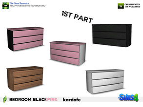 Sims 4 — kardofe_Bedroom BLACKPINK_Dresser by kardofe — Dresser with three large drawers in five different options