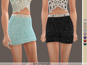 Sims 4 — Beaded Mini Skirt by ekinege — 10 different colors. Note: Some hair is blocking shine.