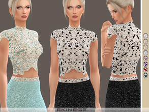 Sims 4 — Beaded Cropped Top by ekinege — 10 different colors. Note: Some hair is blocking shine.