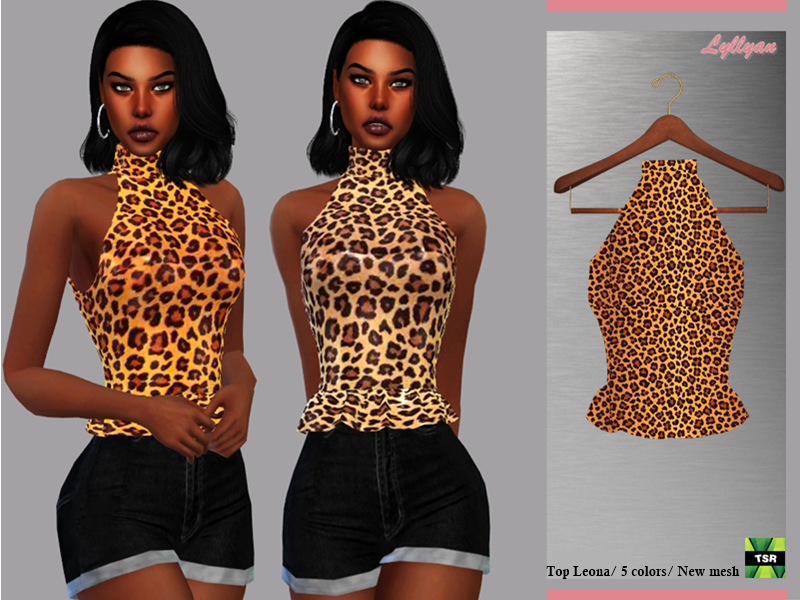 Sims 4 — Top Leona by LYLLYAN — Top in 5 colors for Female New mesh Leopard print Adult-Elder-Teen-Young Adult Custom