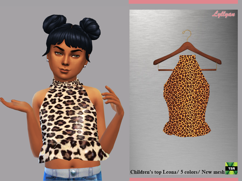 Sims 4 — Top Leona child by LYLLYAN — Top in 5 colors for girls For childs New mesh Leopard print Custom thumbnail