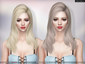 Sims 4 — Priscilla ( Hair 142 ) by TsminhSims — New meshes - 20 colors - HQ texture - Custom shadow map, normal map - All