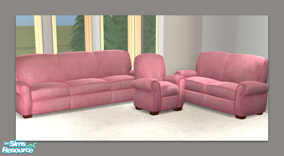 DOT\'s Pink Leather Sofa Love Chair