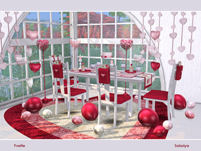 Sims 4 — Yvette by soloriya — A set for romantic dates. Includes 11 objects, has red, pink and white colors. Items in the