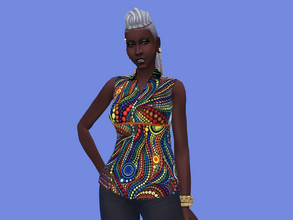 Sims 4 — Female Adult African-Caribbean Sleeveless Blouse by seimar8 — Female Adult African-Caribbean Sleeveless Blouse