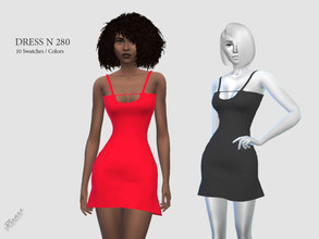 Sims 4 — DRESS N 280 by pizazz — NEW MESH INCLUDED WITH DOWNLOAD Base game 10 colors / swatches HQ - LODS - MAPS *Hair