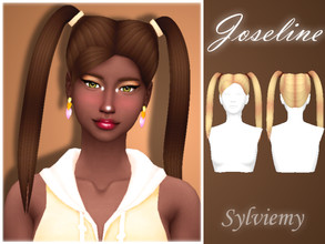 Sims 4 — Joseline Hairstyle Set by Sylviemy — The set included Joseline Hair and Accessory Recolor