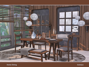 Sims 4 — Xenia Dining by soloriya — A set of furniture for your dining rooms. Includes 11 objects: --dining table,