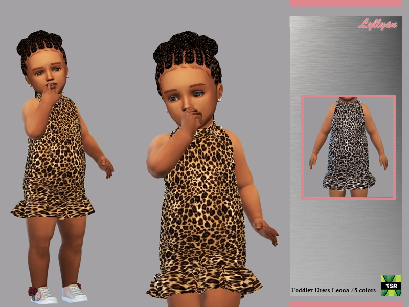 Sims 4 — Toddler Dress Leona  by LYLLYAN — Toddler Dress Leona in 5 colors For toddlers New mesh Leopard print Custom