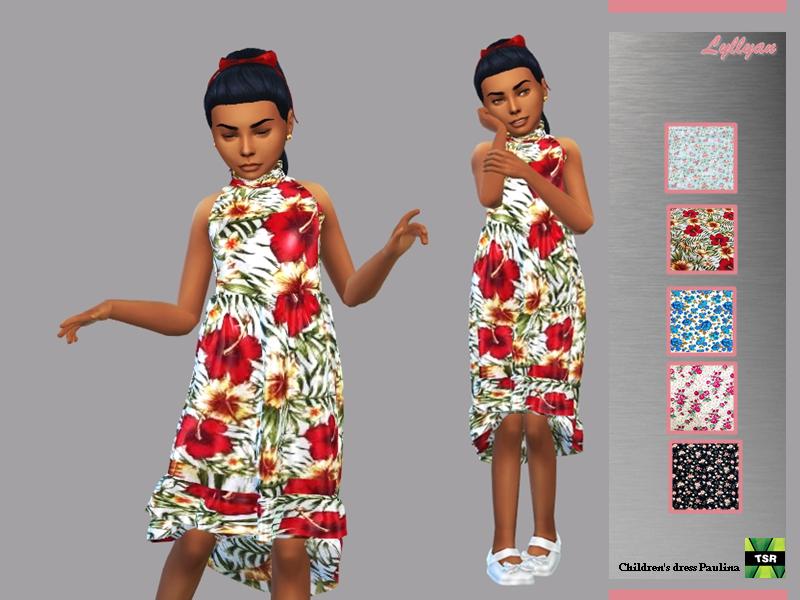 Sims 4 —  Children's dress Paulina by LYLLYAN — Children's dress Paulina in 5 prints for girls. For childs New mesh