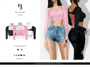 Sims 3 — Square Neckline Long Sleeve Crop Top by Bill_Sims — YA/AF Everyday/Formal Available for Maternity Recolorable -