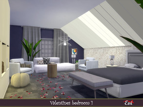 Sims 4 — Valentine Bedroom 1 by evi — A cozy bedroom decorated and furnished for st. Valentinew day