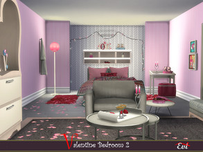 Sims 4 — Valentine Bedroom 2 by evi — A cozy and youthful bedroom decorated and furnished for st. Valentinew day