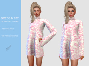 Sims 4 — DRESS N 287 by pizazz — NEW MESH INCLUDED WITH DOWNLOAD Base game 05 colors / swatches HQ - LODS - MAPS
