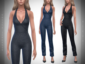 Sims 4 — Pipco - Verity Denim Jumpsuit. by Pipco — 4 Swatches Base Game Compatible New Mesh All Lods Specular and Normal