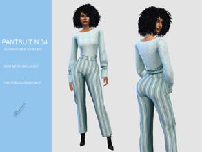 Sims 4 — PANT SUIT N 34 by pizazz — NEW MESH INCLUDED WITH DOWNLOAD Base game 15 colors / swatches HQ - LODS - MAPS *Hair