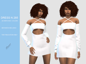 Sims 4 — DRESS N 285 by pizazz — NEW MESH INCLUDED WITH DOWNLOAD Base game 20 colors / swatches HQ - LODS - MAPS *Hair