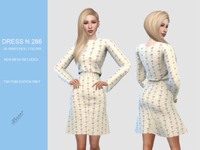 Sims 4 — DRESS N 286 by pizazz — NEW MESH INCLUDED WITH DOWNLOAD Base game 05 colors / swatches HQ - LODS - MAPS