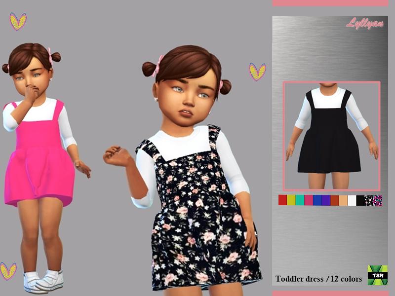 Sims 4 — Toddler dress Lorena by LYLLYAN — Toddler dress Lorena in 12 colors For Toddler New mesh Custom thumbnail