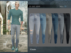 Sims 4 — DSF JEANS AEQUOR by DanSimsFantasy — Ripped cotton jeans at the right knee. It has 15 color samples.