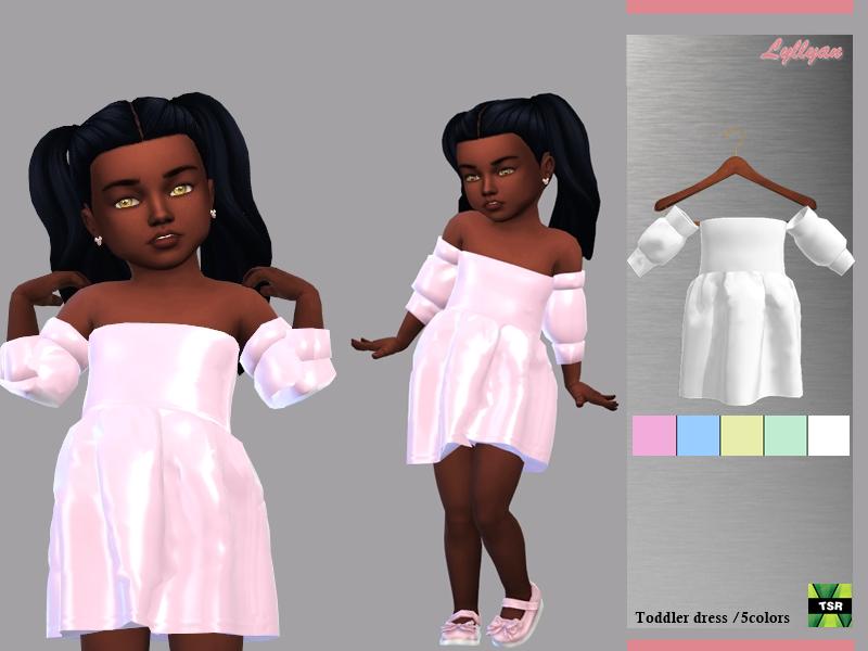 Sims 4 — Toddler dress Samanta by LYLLYAN — Toddler dress in 5 colors. For Toddler New mesh Custom thumbnail