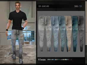 Sims 4 — DSF JEANS ARG by DanSimsFantasy — Ripped cotton jeans at the right knee. It has 16 color samples.