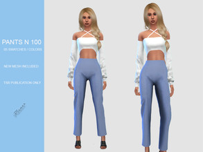 Sims 4 — PANTS N 100 by pizazz — NEW MESH INCLUDED WITH DOWNLOAD Base game 05 colors / swatches HQ - LODS - MAPS SHIRT
