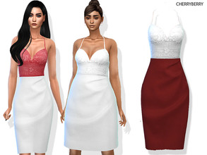 Sims 4 — Valentine's Day Pencil Dress by CherryBerrySim — Valentine's Day Pencil Dress with lace strap top for female