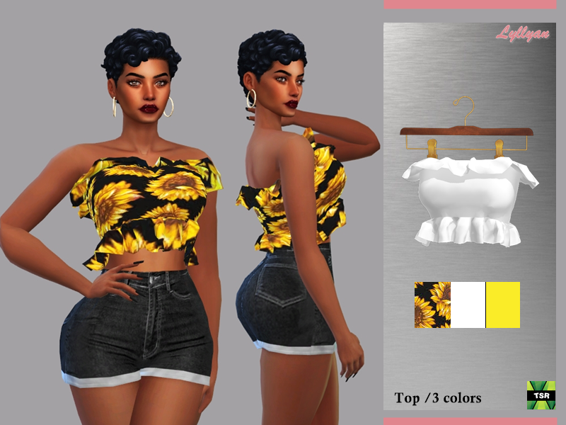 Sims 4 — Top Luna  by LYLLYAN — Top in 3 colors for Female New mesh Floral print Adult-Elder-Teen-Young Adult Custom