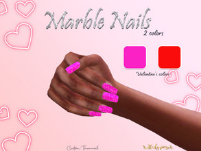 Sims 4 — Valentines Marble Nails by XxThickySimsxX — Recolor FIND MESH LINK IN (REQUIRED) Comes in 2 colors (pink &