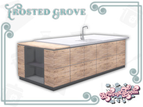 Sims 4 — Frosted Grove - Sink Island by ArwenKaboom — A base game sink island in 4 recolors. Functions as sink only with
