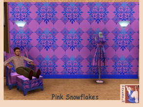 Sims 3 — ws Snowflakes pink Pattern by watersim44 — Snowflakes pink blue Pattern for your Sims-House. Category: Geometric