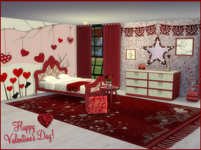 Sims 4 — Be My Valentine Bedroom Set by seimar8 — Please find 12 recolors that make up Be My Valentine Bedroom set. You