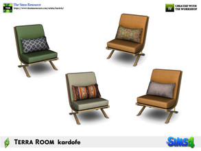 Sims 4 — kardofe_Terra Room_LivingChair by kardofe — Wooden armchair, upholstered in fabric and with a cushion, in four