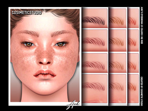 Sims 4 — COSIMETIC STUDIO | Eyebrows - AOKI by cosimetic — - Teen to elder. - Contains [ 15 ] colors in HQ texture. -