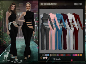 Sims 4 — DSF OUTFIT AMETRINE by DanSimsFantasy — Soft textured suit with long sleeves, low-cut at the waist and fitted