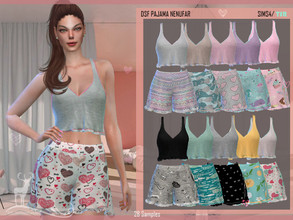 Sims 4 — DSF PAJAMA NENUFAR by DanSimsFantasy — Soft texture pajamas with unicolor top and shorts Cloning object: base of